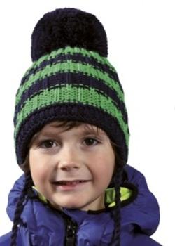 Dětská pruhovaná zimní čepice s bambulí PLETEX - H077 d3ab2eaacc