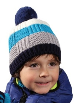 Dětská pruhovaná zimní čepice s bambulí PLETEX - H083 3665477d28