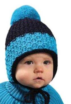 Dětská chlapecká dvoubarevná zimní čepice s bambulí PLETEX - H084 d41cfe0831