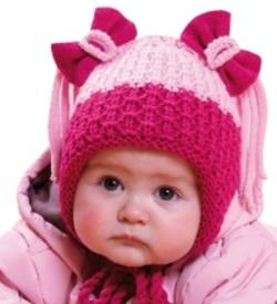 Dětská dívčí dvoubarevná zimní čepice s mašličkami PLETEX - H085 ab99fb08b0