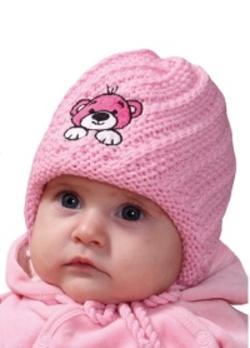 Dětská zimní čepice PLETEX s výšivkou medvídka- H087 422ab5c904