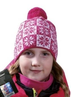 Dětská vzorovaná zimní čepice s bambulí PLETEX - H089 cd966d87b5