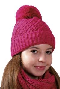 Dívčí zimní čepice s bambulí PLETEX - P229 163bc6a13f