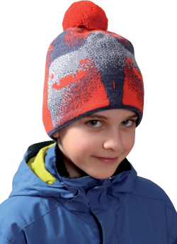 Dětská vzorovaná zimní čepice s bambulí PLETEX - P328 78ccb2cc56